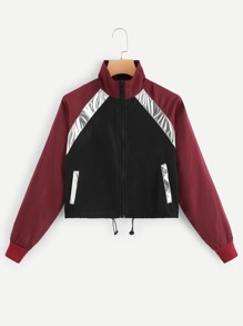 Stand Collar Colorblock Drawstring Jacket