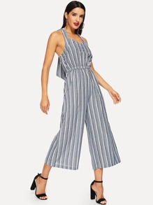 Knot Back Striped Jumpsuits