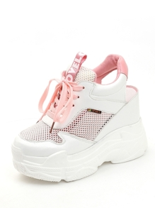 Lace Up Mesh Panel Wedge Sneakers