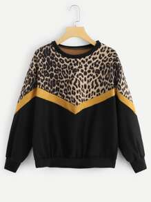 Leopard Panel Drop Shoulder Sweatshirt