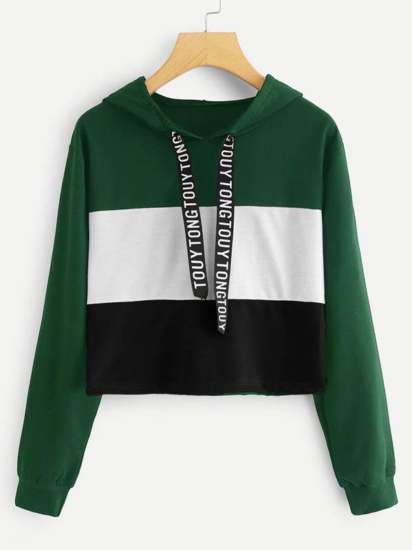 0eb738377c Letter Print Tape Color-block Drawstring Hoodie   SHEIN IN