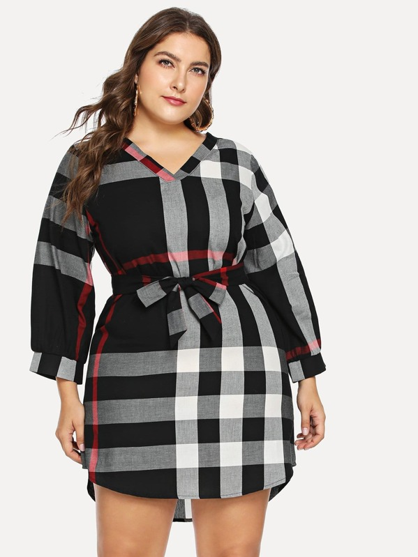 Plus Self Tie Plaid Dress | SHEIN