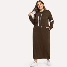 SHEIN   Plus Varsity Striped Hoodie Dress   Goxip