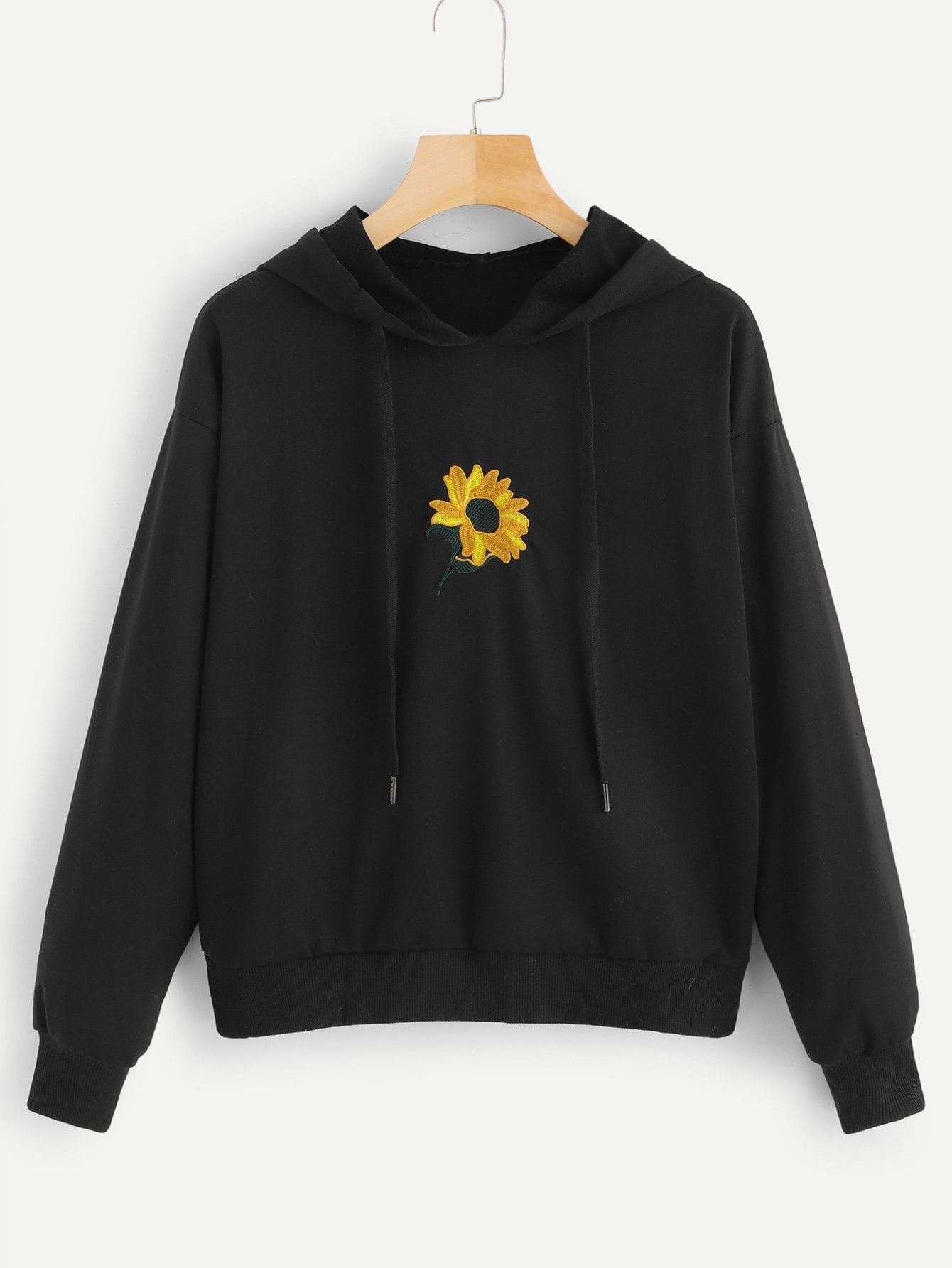 Floral Embroidery Hooded Sweatshirt by Romwe