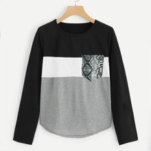 SHEIN   Cut And Sew Panel Pocket Front Tee   Goxip