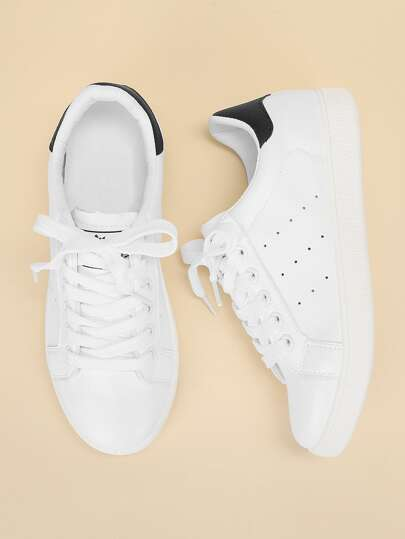 Lace Up Plain Sneakers