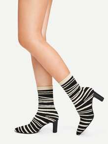 Two Tone Striped Sock Boots