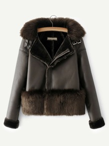 Contrast Faux Fur Solid PU Jacket