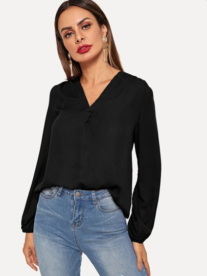V Neck Blouson Sleeve Top