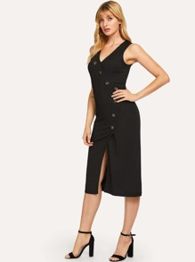 Button Front V-Neck Solid Dress
