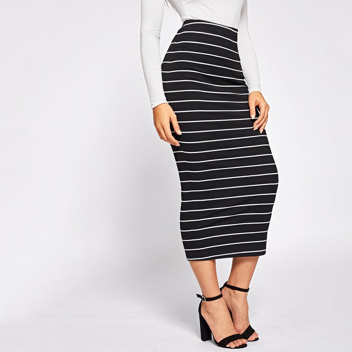 Облегающая юбка в полоску