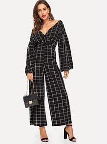 Surplice Neck Grid Print Jumpsuit