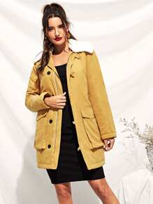 Zip Up Faux Fur Contrast Pocket Belted Coat