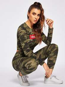 Camo Print Letter Utility Top & Pants Set