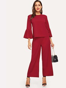 Mock-Neck Flounce Sleeve Top and Palazzo Pants Set