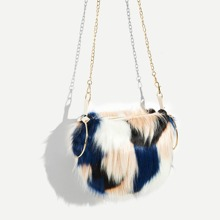 Faux Fur Satchel Bag With Ring Handle