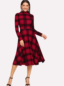 Mock Neck Fit & Flare Plaid Dress
