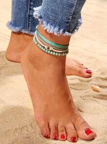 Beaded & Multi Layered Anklet Set 3pcs