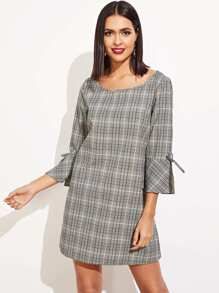 Knot Flounce Sleeve Plaid Dress