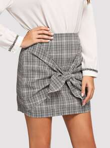 Knot Front Plaid Skirt