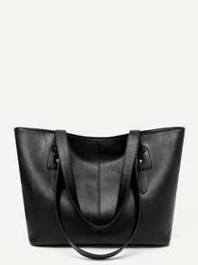 Solid PU Tote Bag