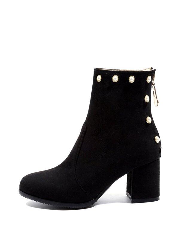 8a59101ac أحذية برقبة طويلة اللؤلؤ الأسود أنيق | شي إن