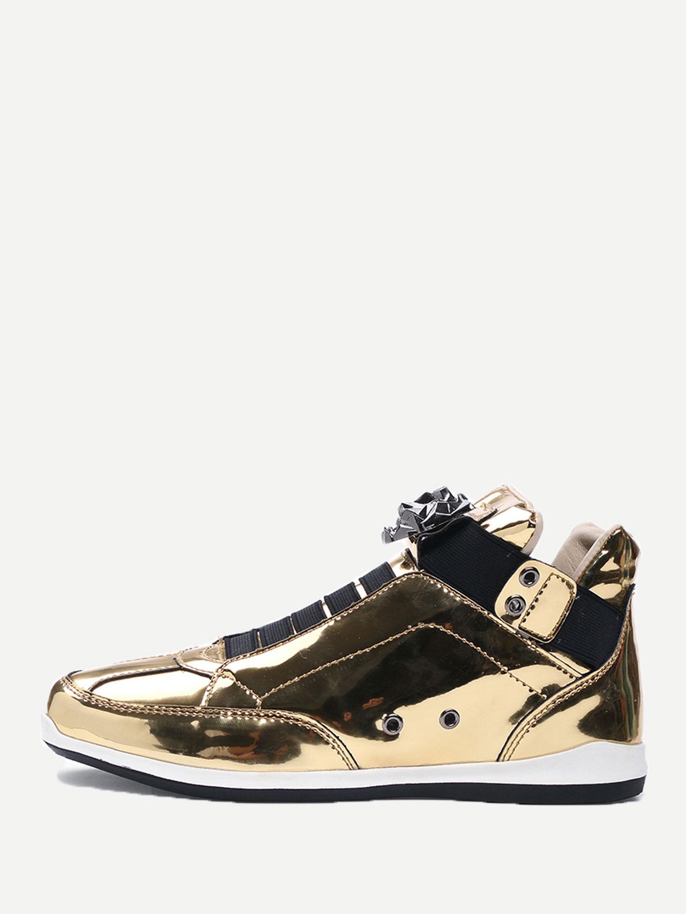 Men Metallic Slip On Sneakers