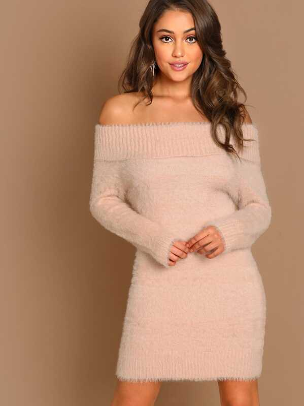 43e6f59c17a Off The Shoulder Fuzzy Knit Long Sleeve Mini Dress