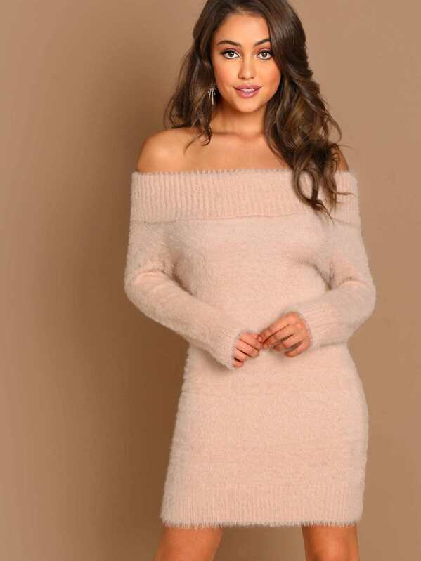 f444cff21871 Off The Shoulder Fuzzy Knit Long Sleeve Mini Dress | SHEIN