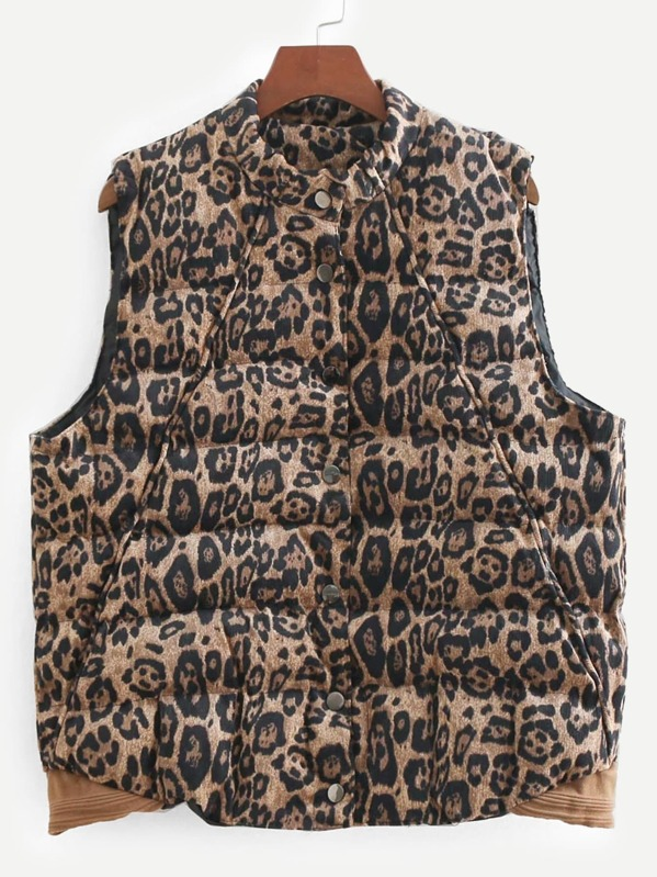 79dd1ccd6222e6 Leopard Print Corduroy Puffer Vest
