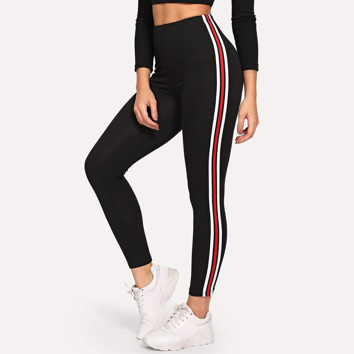 SHEIN coupon: Striped High-Rise Ankle-Cut Leggings