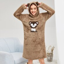 Bear Pattern Plush Hooded Dress