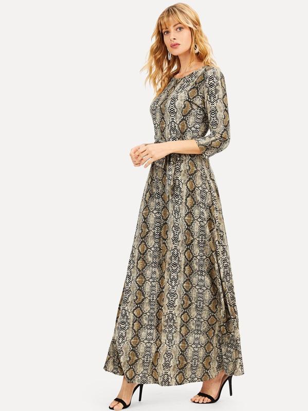 85ff58797948 Snakeskin Print Self Tie Maxi Dress | SHEIN UK