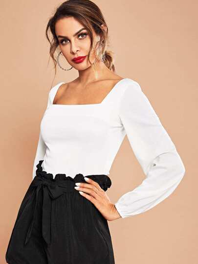 Square Neck Bishop Sleeve Solid Top