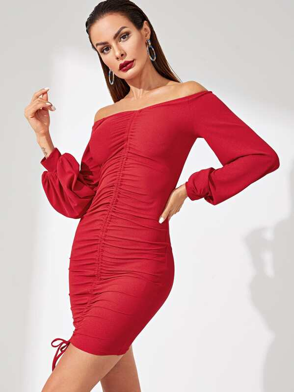 efb661e09c4f2b Bardot Kleid mit Lanternärmeln und geraffter Kordelzug