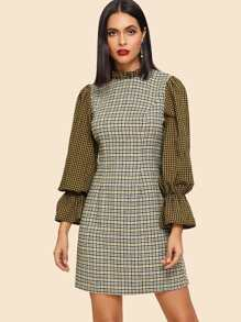 Frilled Neckline Bell Sleeve Plaid Dress