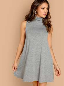 Cowl Neck Heathered Knit Swing Dress