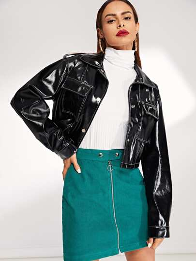 Pocket Front Button Up PU Crop Jacket
