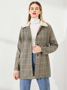 Contrast Fleece Collar Houndstooth Coat
