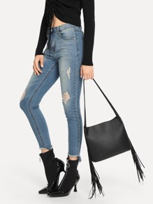 Double Tassel Tote Bag With Clutch