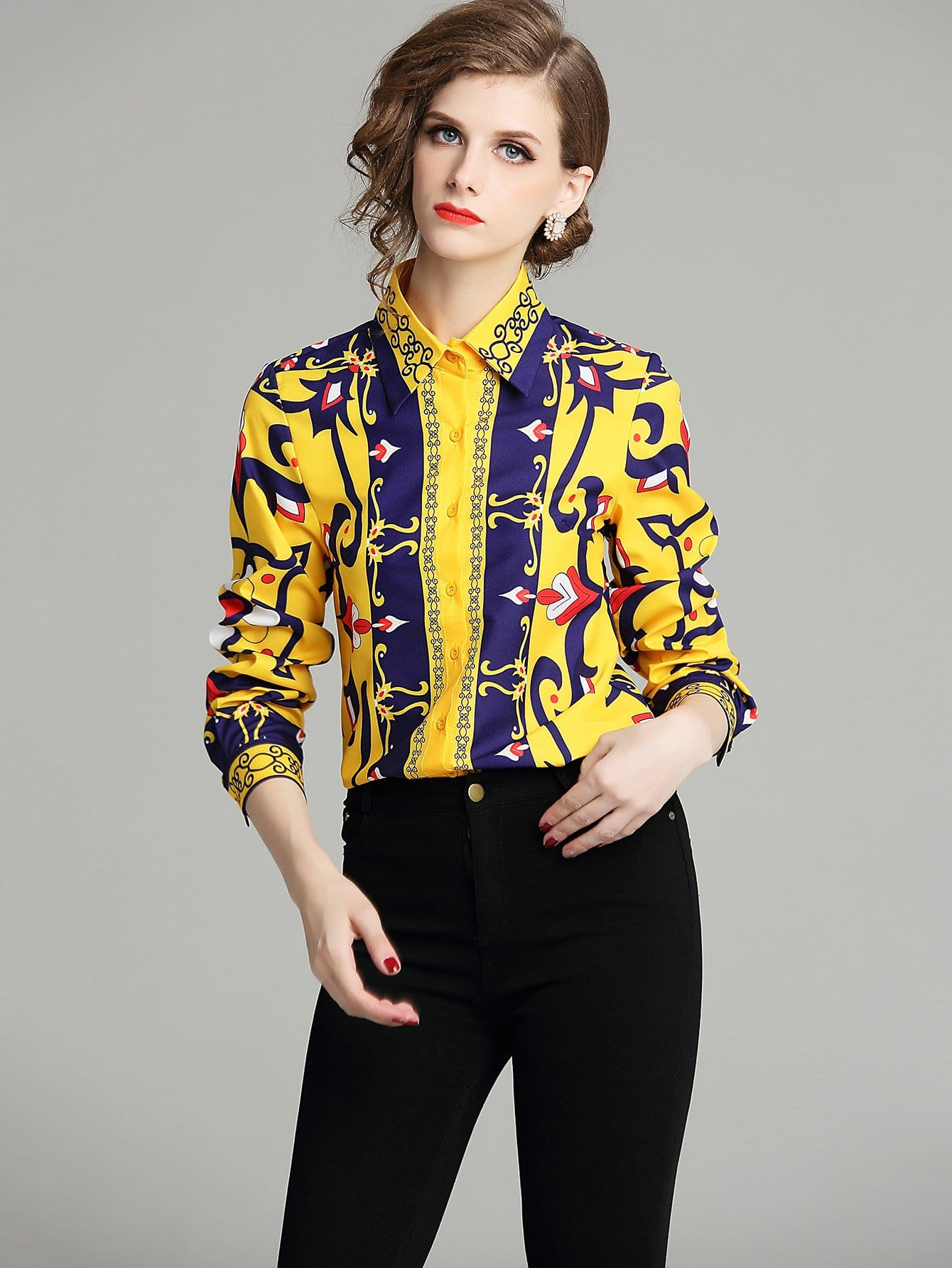 c6f27278395 Graphic Print Single Breasted Blouse EmmaCloth-Women Fast ...