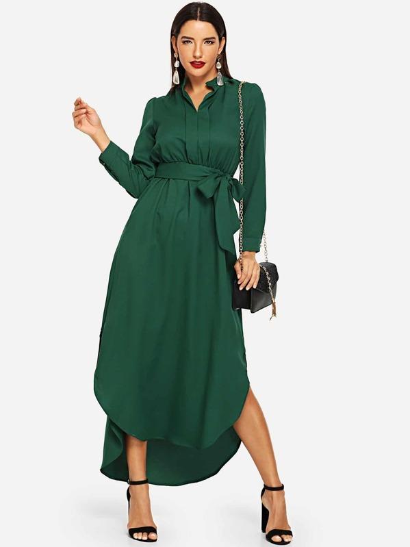 d58510f5564 Tie Waist Curved Hem Midi Shirt Dress