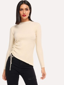Drawstring Split Side Skinny Sweater