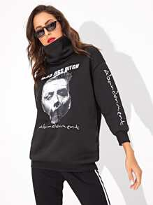 Figure Print High Neck Drop Shoulder Sweatshirt