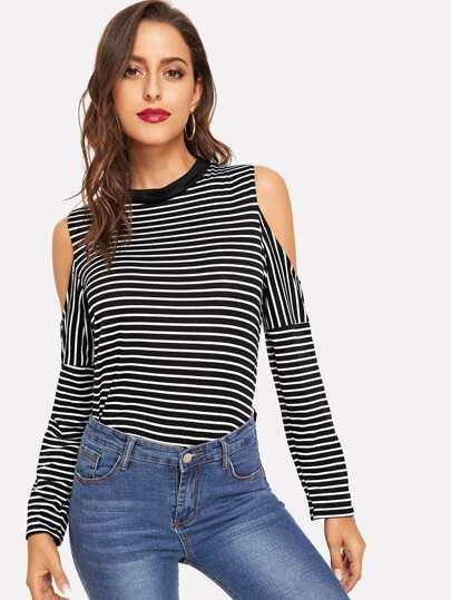 Striped Cold Shoulder T-Shirt pictures