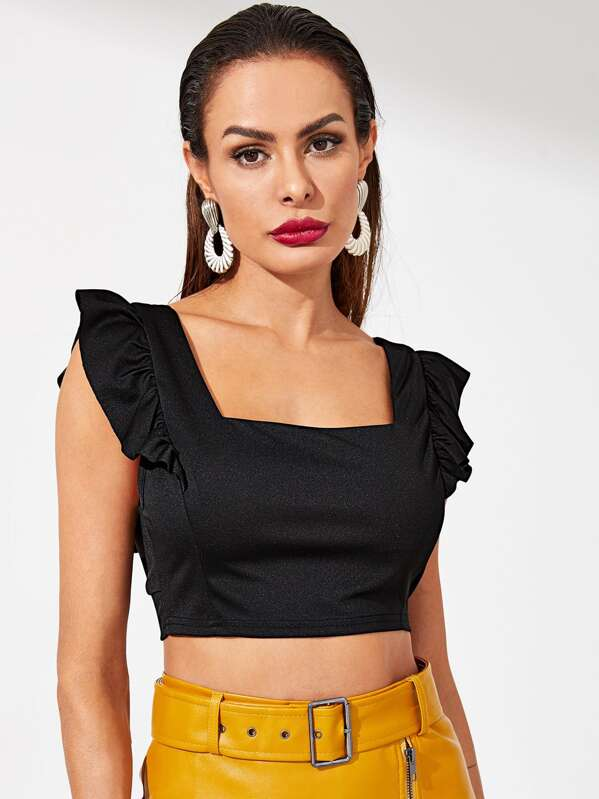 873e8c60dd8c3 Cheap Square Neck Ruffle Trim Crop Top for sale Australia