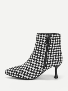Houndstooth Print Point Toe Ankle Boots