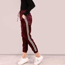 SHEIN | Side Striped Satin Trainer Joggers | Goxip