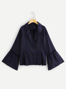 Plus Frill Trim Double Breasted Blazer