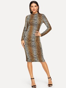 Form Fitting Leopard Print Dress